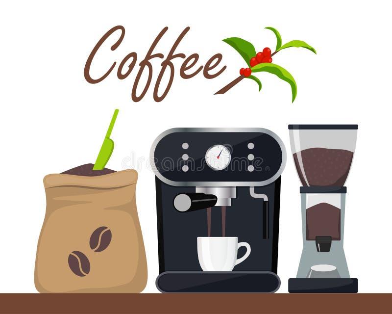 Kaffeestube- oder Caféentwurfsillustration mit Kaffeemaschine, Sack mit Bohnen, Schleifer, Schale Baumast mit Blättern und Kaffee lizenzfreie abbildung