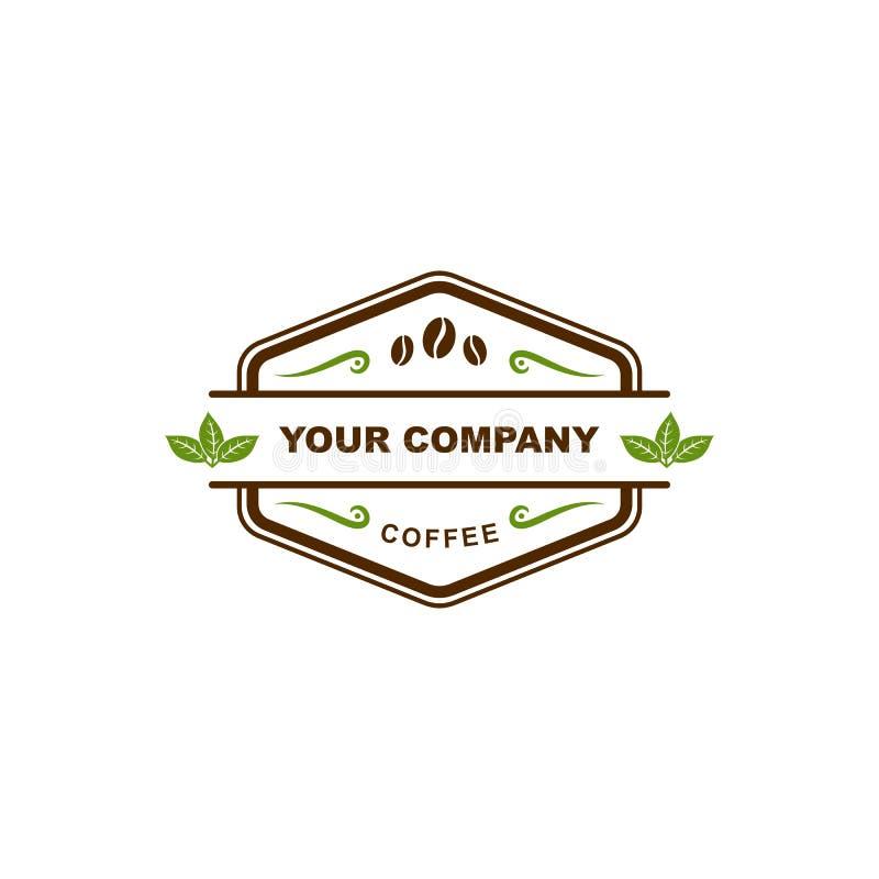 Kaffeestubeausweislogo stock abbildung