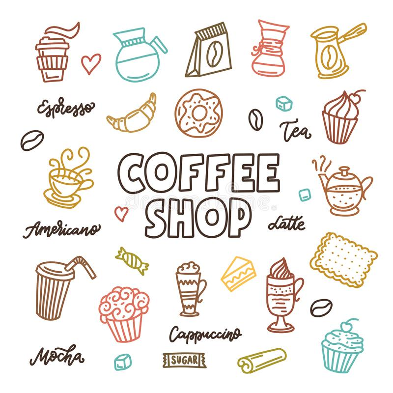 Kaffeestubegekritzelkunst-Elementsatz Vektorweinleseillustration vektor abbildung
