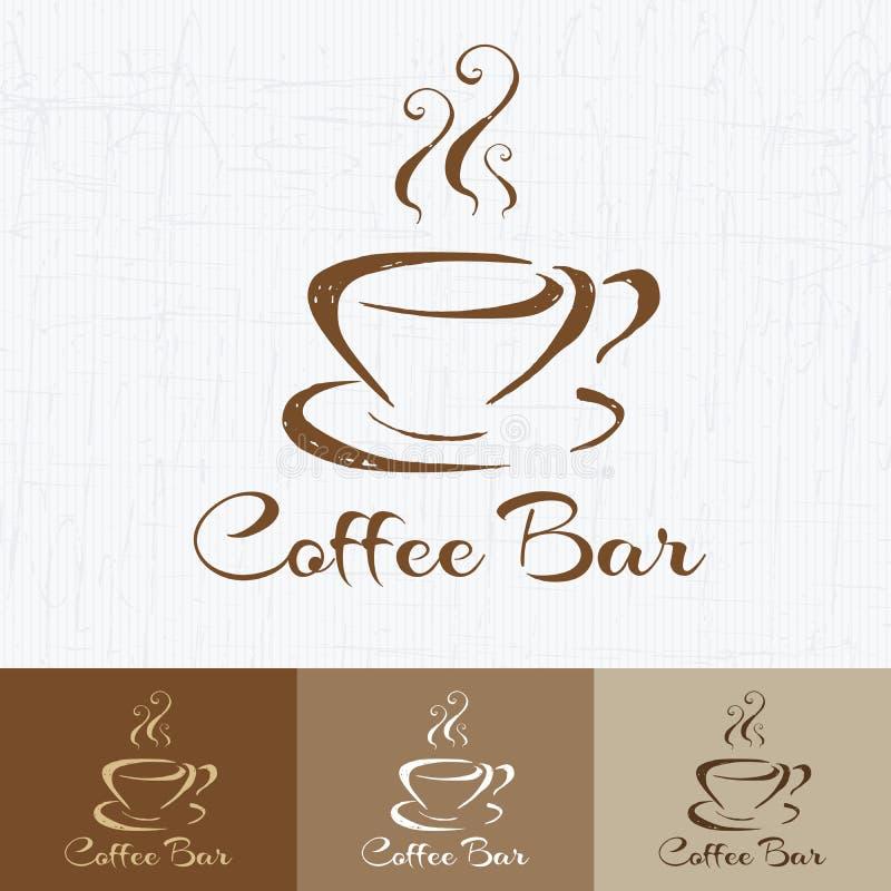 Kaffeestubelogodesign-Schablonenretrostil Weinlese-Design für Firmenzeichen, Aufkleber, Ausweis und Markendesign Hand gezeichnete lizenzfreie abbildung