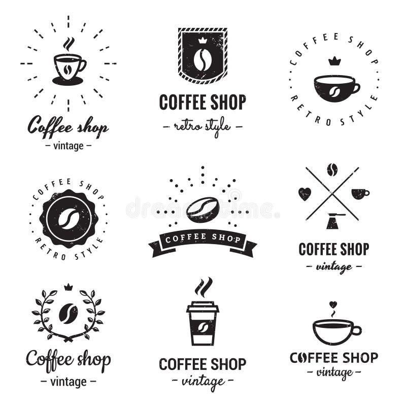 Kaffeestubelogoweinlese-Vektorsatz Hippie und Retrostil lizenzfreie abbildung