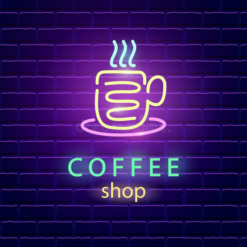 Kaffeestubeneonlogo stock abbildung