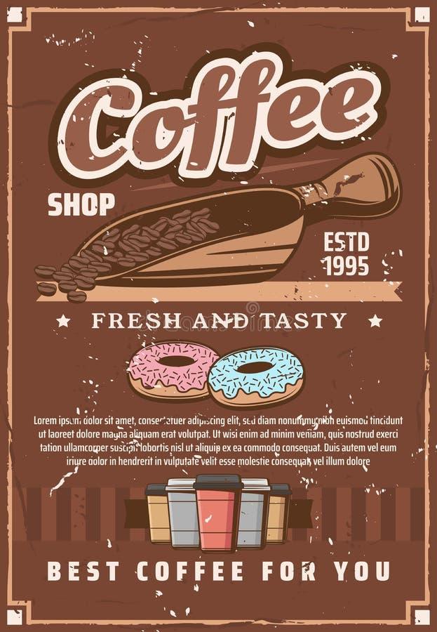 Kaffeestubeschalen und -schaufel, Bohnen und Schaumgummiringe lizenzfreie abbildung