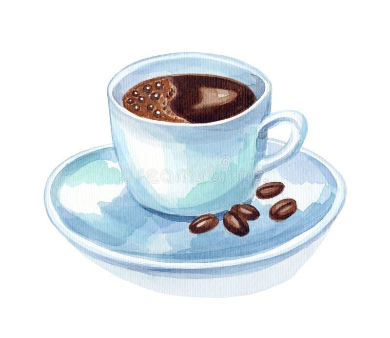 Kaffeetasse, Aquarellmalerei lizenzfreies stockfoto
