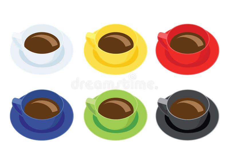 Kaffeetasse auf Untertasse auf weißem Hintergrund und weißem gelbem rotem blauem grünem Schwarzem vieler Kaffeetassen multi Farb stock abbildung