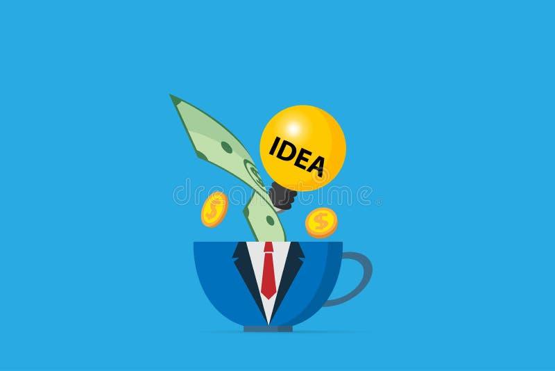 Kaffeetasse in der Geschäftsuniform mit Glühlampe und Geld, Geschäftskonzept stockfotos