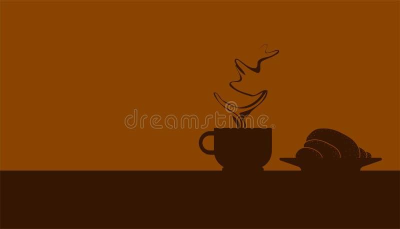 Kaffeetasse des Schattenbildes eins mit schönem Rauche und einem Hörnchen machen Sie eine Pause mit Ihrem Lieblingsgetränk Auch i vektor abbildung