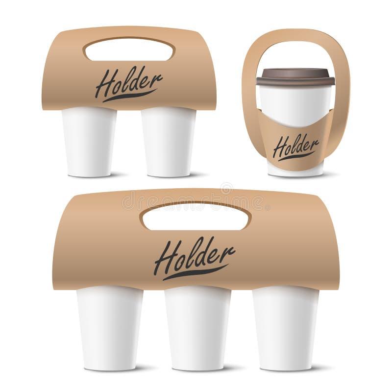 Kaffeetasse-Halter-gesetzter Vektor Realistisches Modell Leergut für das Tragen Ein, zwei, drei Schalen Heißes Getränk nehmen lizenzfreie abbildung