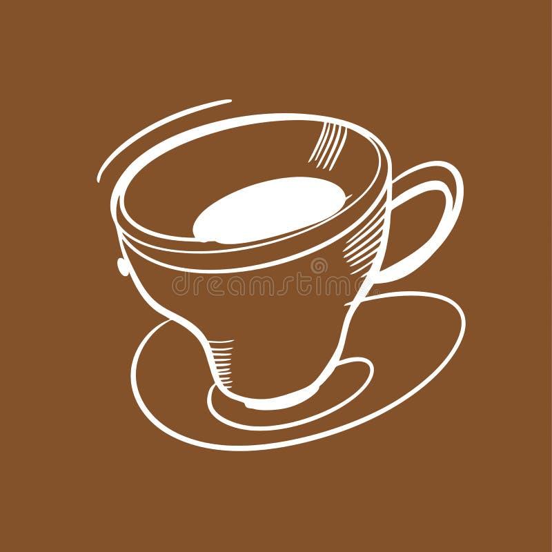 Kaffeetasse-Handgezogene Vektorillustration Entwurf für Menübrett, Plakat, Fahne Lokalisiert auf Brown-Hintergrund stock abbildung