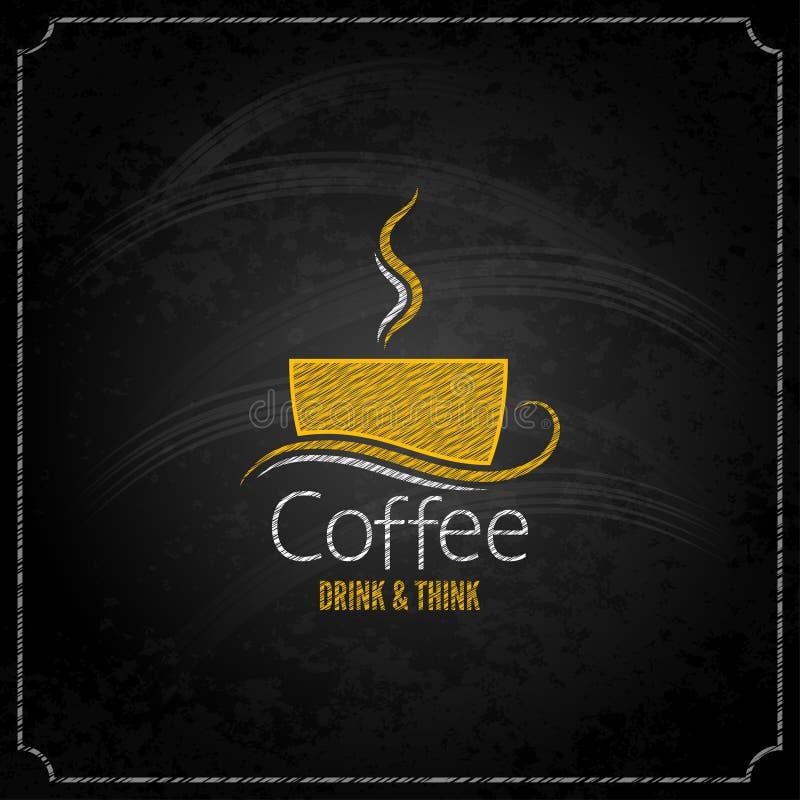 Kaffeetasse-Kreideaufkleber-Konzeptmenü lizenzfreie abbildung