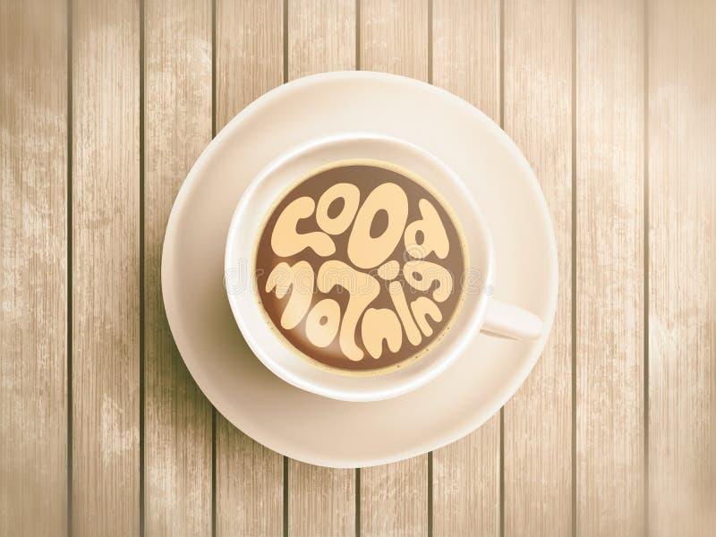 Kaffeetasse mit der Zeit, die über den guten Morgen, wachend auf realistischem hölzernem Hintergrund beschriftet auf Cappuccino v lizenzfreies stockfoto
