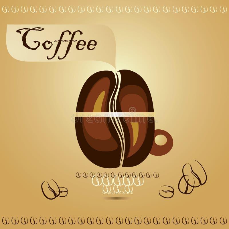 Kaffeetasse mit Kaffeebohnen lizenzfreie abbildung