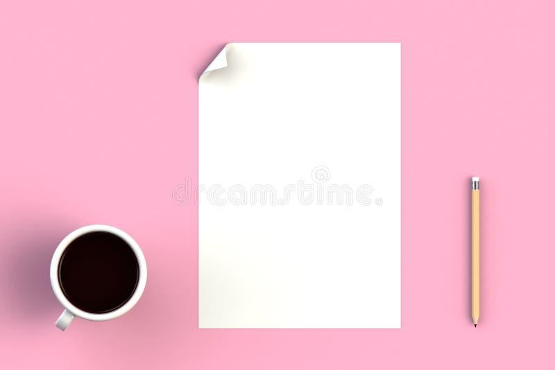 Kaffeetasse mit leerem Papier auf rosa Hintergrund, Draufsicht mit copyspace für Ihren Text vektor abbildung