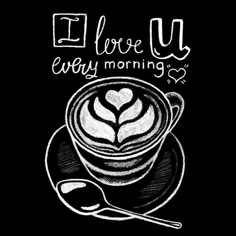 Kaffeetasse mit weißer Kreide des Herzschaums auf Tafel Handdrawn Illustration und Beschriftung des Kaffeestube- oder Cafémenüs stock abbildung