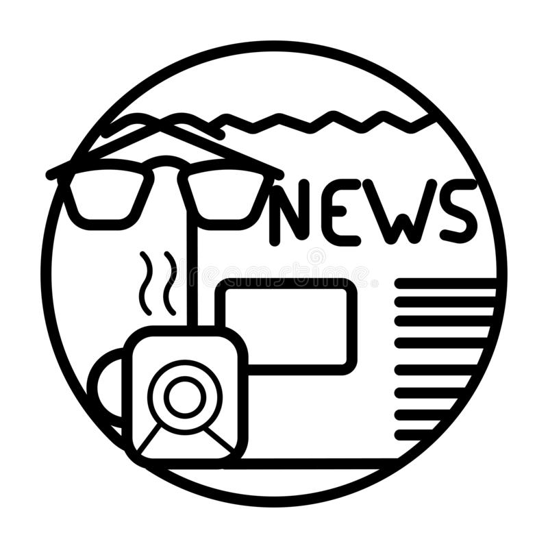 Kaffeetasse mit Zeitung und Linsen stock abbildung