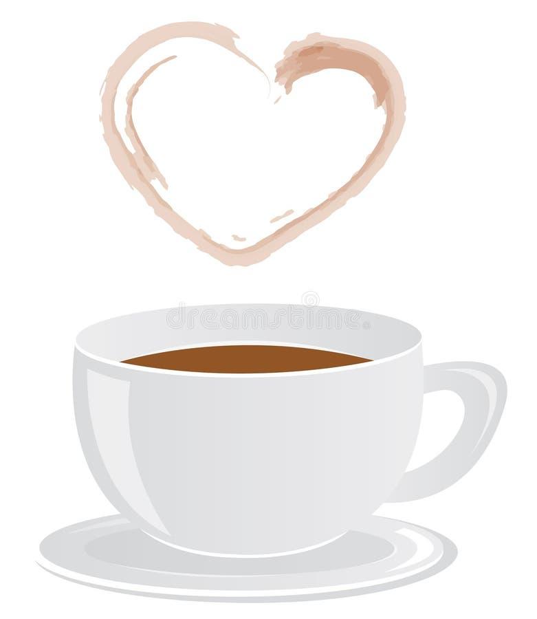 Kaffeetasse u. heart-shaped Dampf stock abbildung