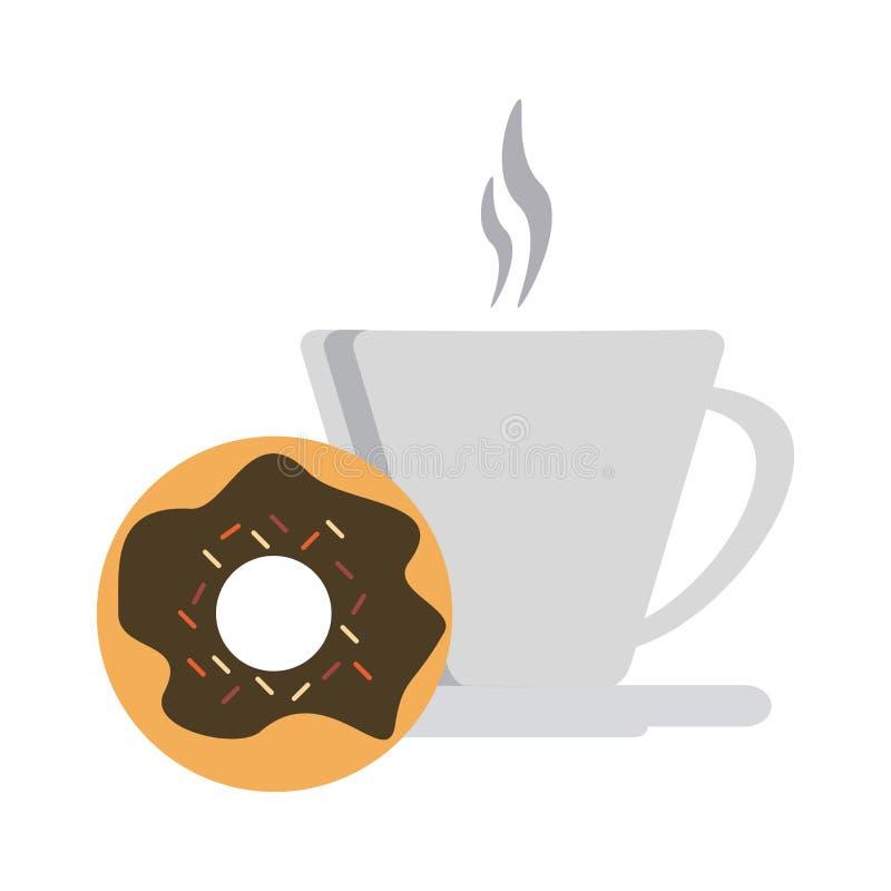 Kaffeetasse und Krapfen stock abbildung