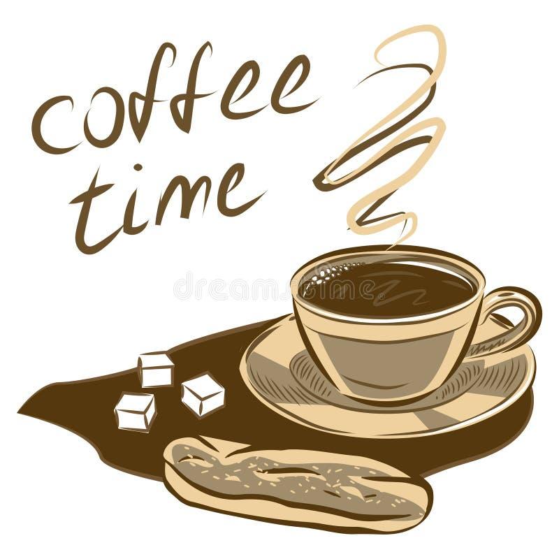 kaffeetasse und kuchen hand gezeichnete vektorabbildung vektor abbildung illustration von. Black Bedroom Furniture Sets. Home Design Ideas