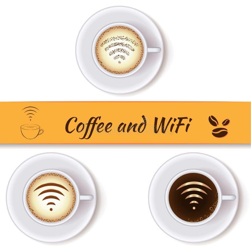 Kaffeetasse- und wifisymbol vektor abbildung