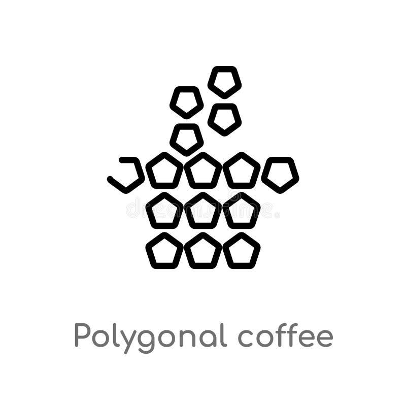 Kaffeetasse-Vektorikone des Entwurfs polygonale lokalisiertes schwarzes einfaches Linienelementillustration vom Geometriekonzept  lizenzfreie abbildung