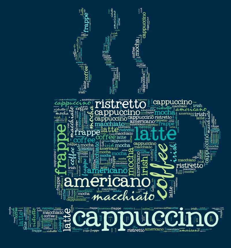 Kaffeetasse Wörter stock abbildung