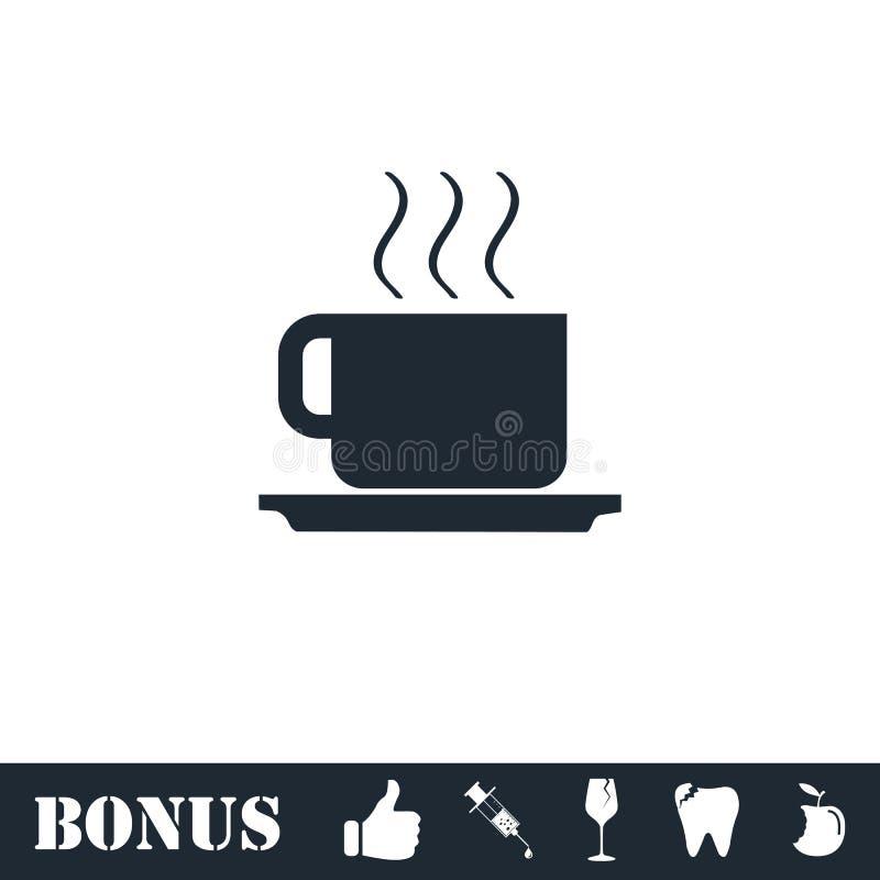 Kaffeetasseikone flach stock abbildung
