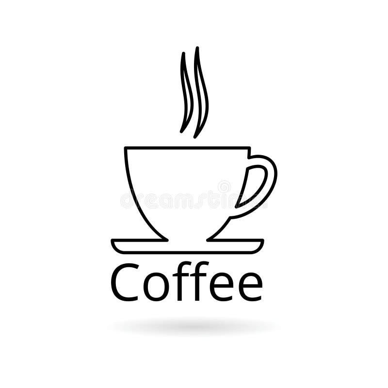 Kaffeetasselinie Ikone, Kaffeezeit lizenzfreie abbildung