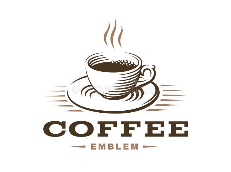 Kaffeetasselogo - vector Illustration, Emblem auf weißem Hintergrund vektor abbildung