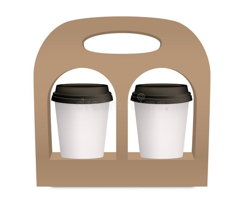 Kaffeetassemitnehmersatzhalter-Modellvektor 3D lizenzfreie abbildung