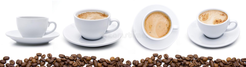 Kaffeetassen mit Bohnen stockfotos