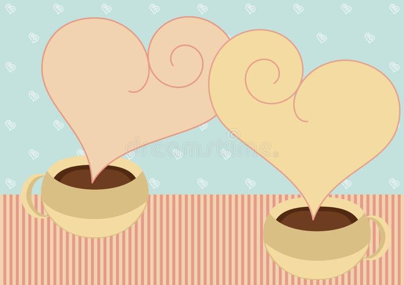 Kaffeetassen mit Innerdampf-Valentinsgrußkarte lizenzfreie abbildung