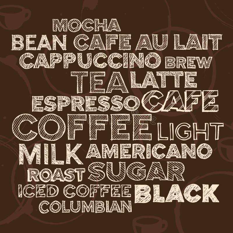 Kaffeetextelemente Stockfoto