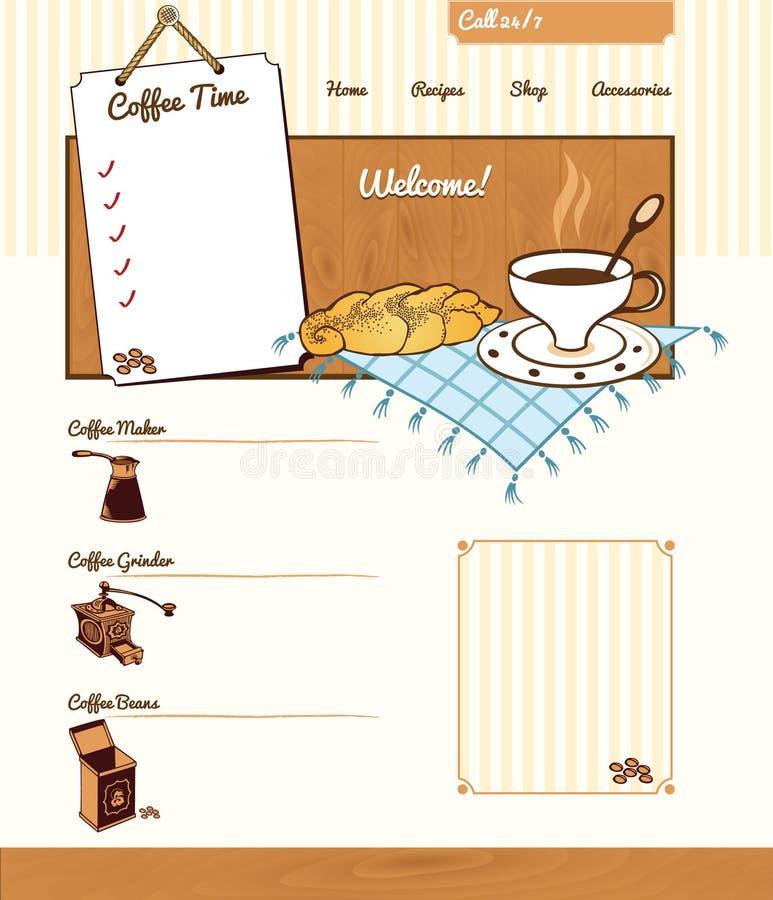 Kaffeethema für Website lizenzfreie abbildung