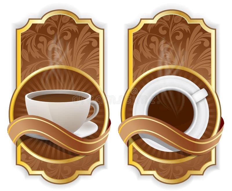 kaffeetikett vektor illustrationer