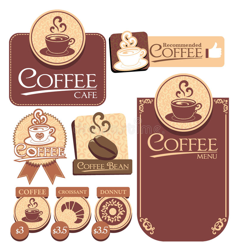 Kaffeetikett stock illustrationer