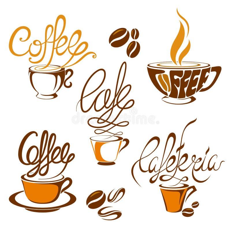 Kaffeetikett och etikett royaltyfri illustrationer