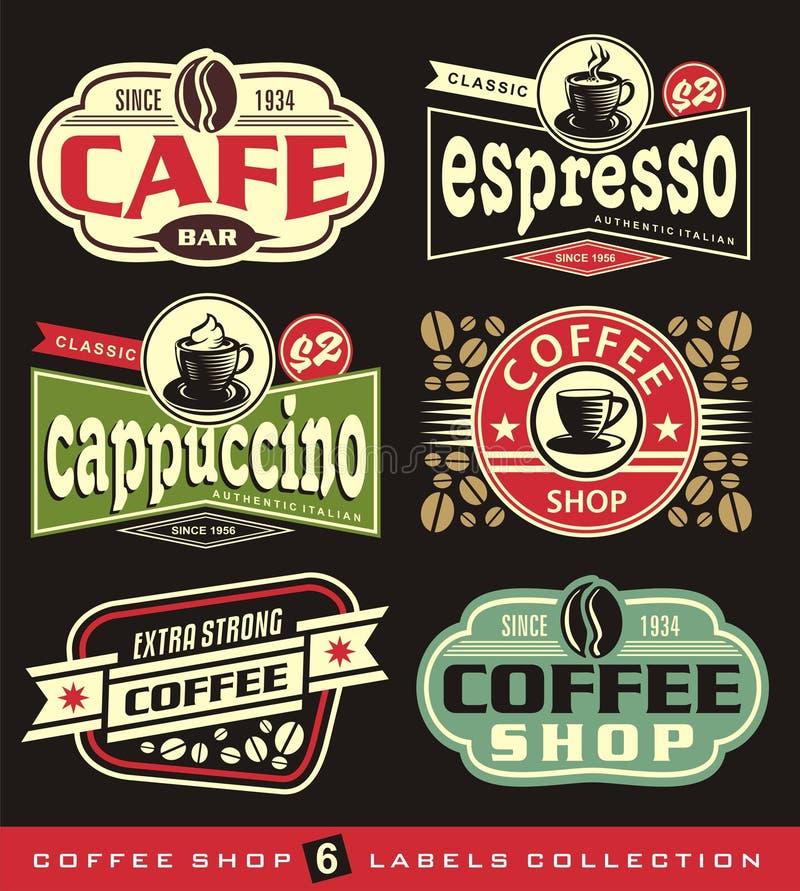Kaffeetikett- och klistermärkesamling vektor illustrationer