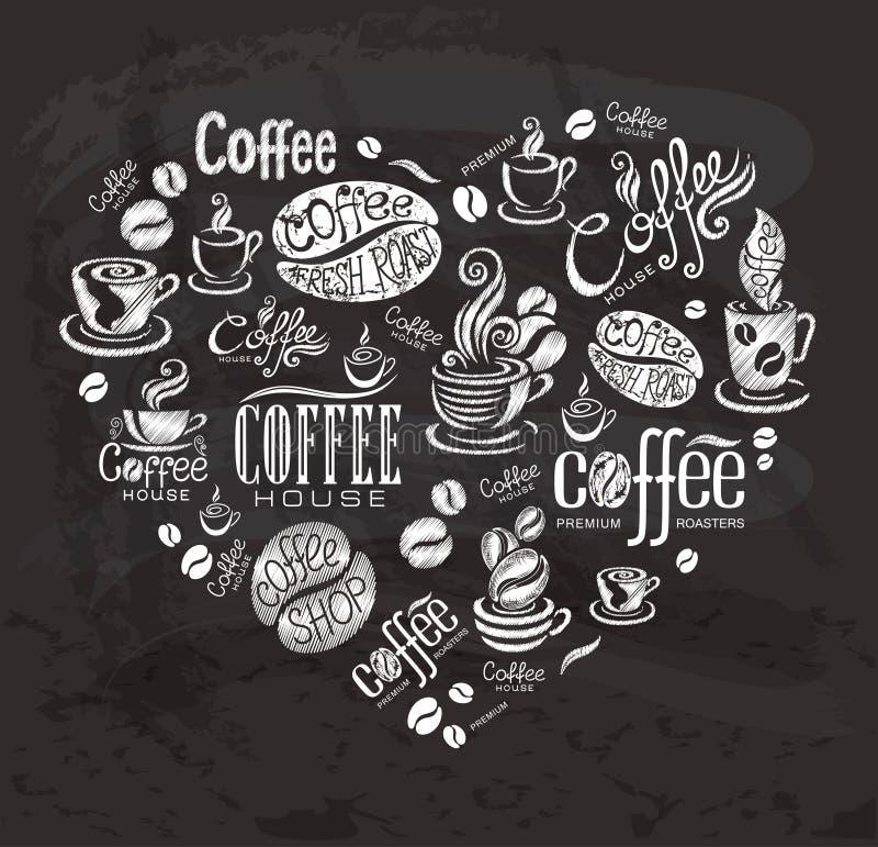 Kaffeetiketter stock illustrationer
