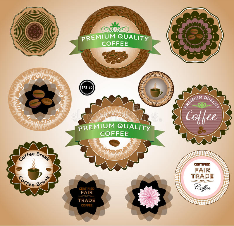 Kaffeetiketter för design stock illustrationer