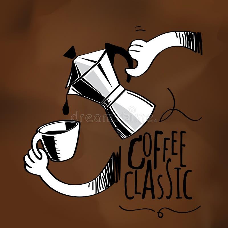 Kaffeetopf skizzierend, gießen Sie den Kaffee in ein Glas lizenzfreie abbildung
