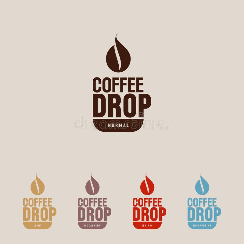 Kaffeetropfenlogo Kaffeeemblem Eine Schale und ein dunkler Tropfen wie Kaffeebohneikone Flaches Logo des Hippies für Café stock abbildung