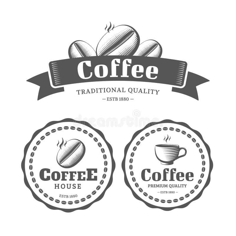 Kaffeeweinleseaufkleber vektor abbildung