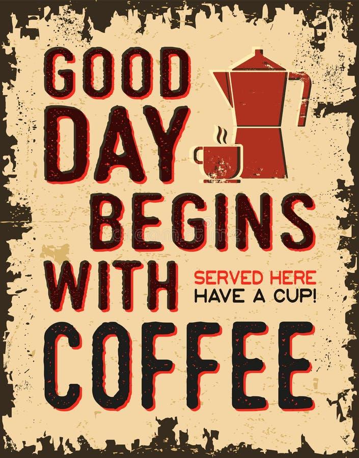 Kaffeeweinleseplakat stock abbildung