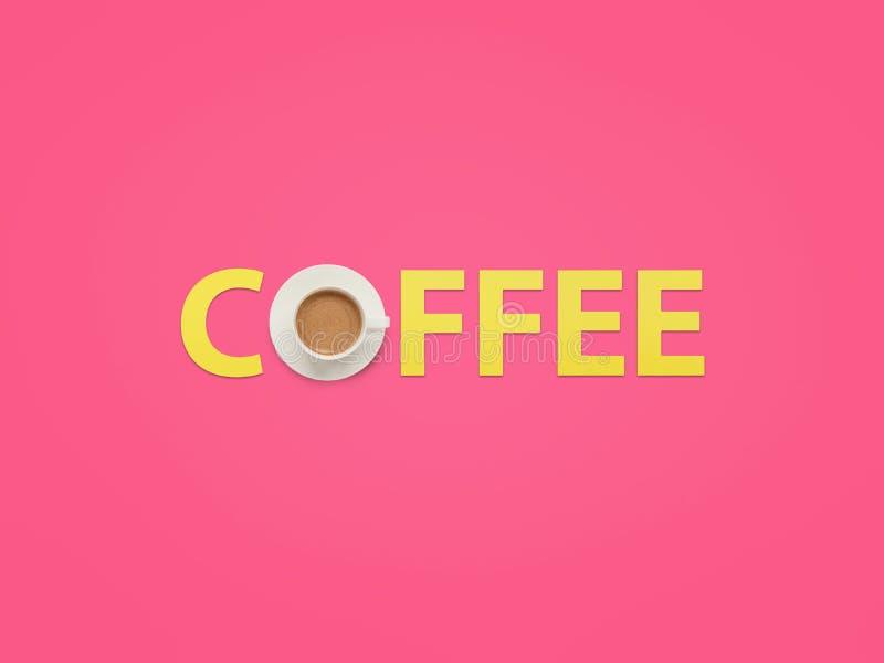 Kaffeewort gemacht mit Schale stockfoto