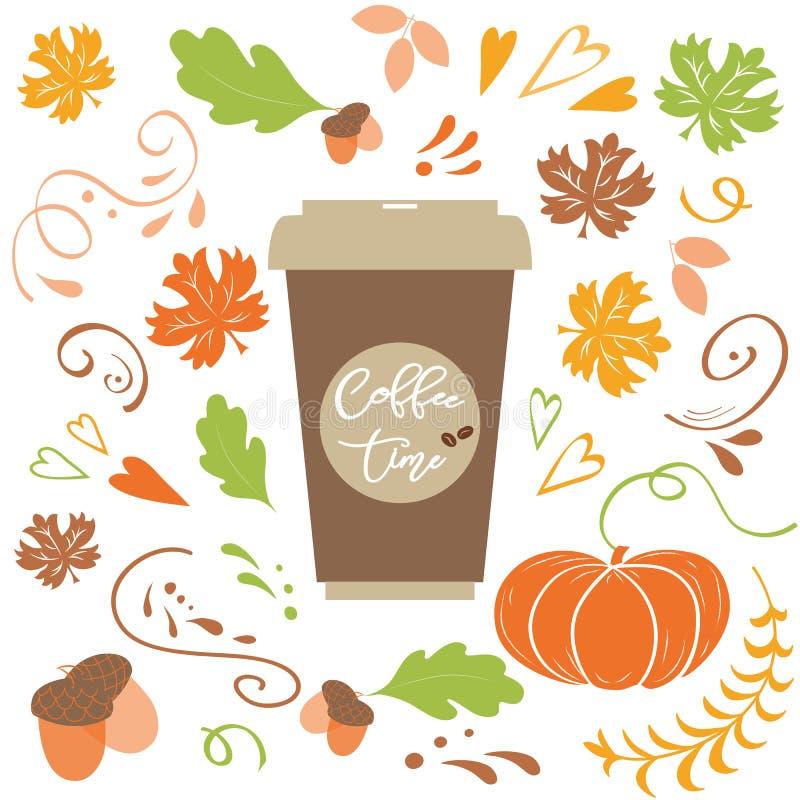 Kaffeezeit-Beschriftungstext auf Fallhintergrund mit Herbstlaub, Kürbiseichelvektor lizenzfreie abbildung