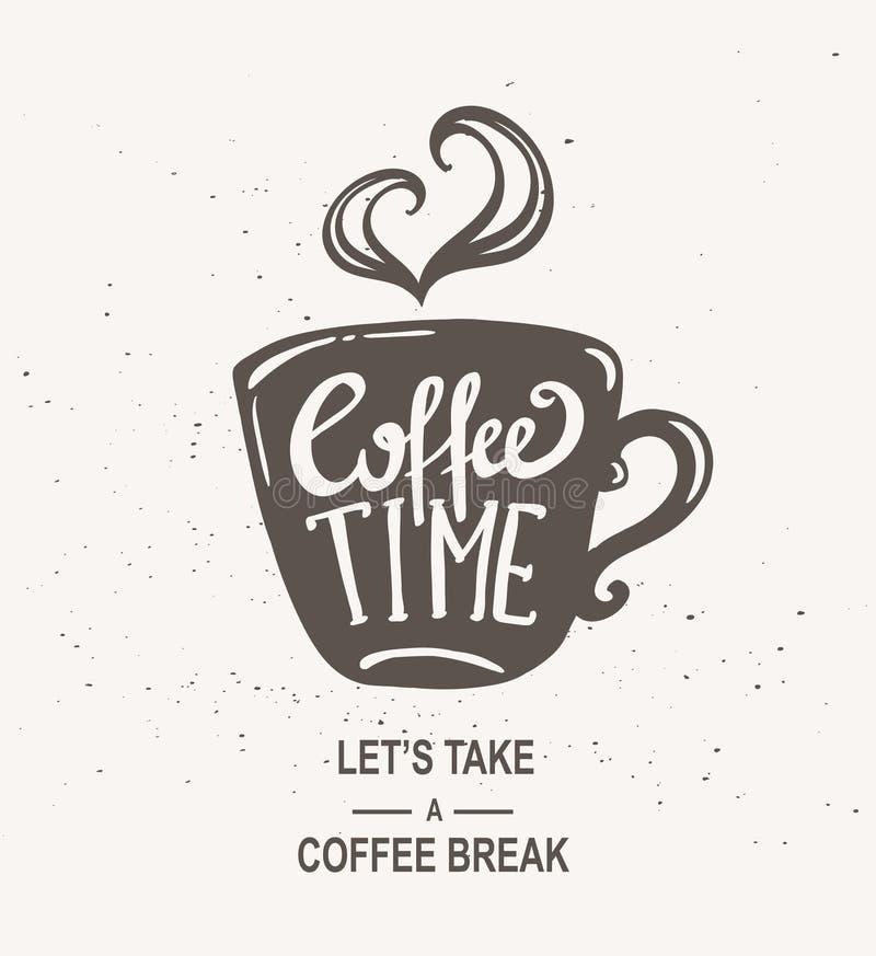 Kaffeezeit Hippie-Weinlese-stilisierte Beschriftung stock abbildung