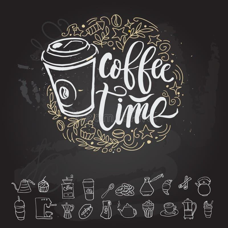 Kaffeezeit Hippie-Weinlese-stilisierte Beschriftung Auch im corel abgehobenen Betrag lizenzfreie abbildung