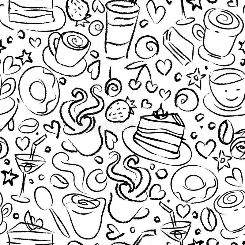Kaffeezeit, nahtloser Hintergrund stock abbildung