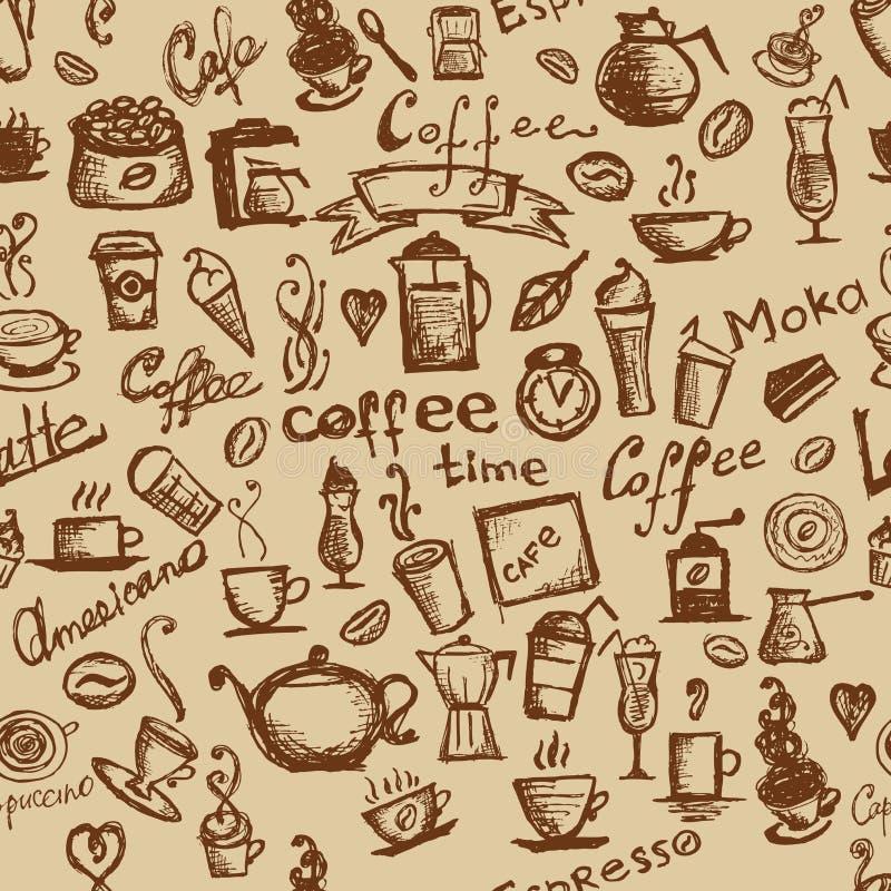 Kaffeezeit, nahtloser Hintergrund für Ihre Auslegung lizenzfreie abbildung