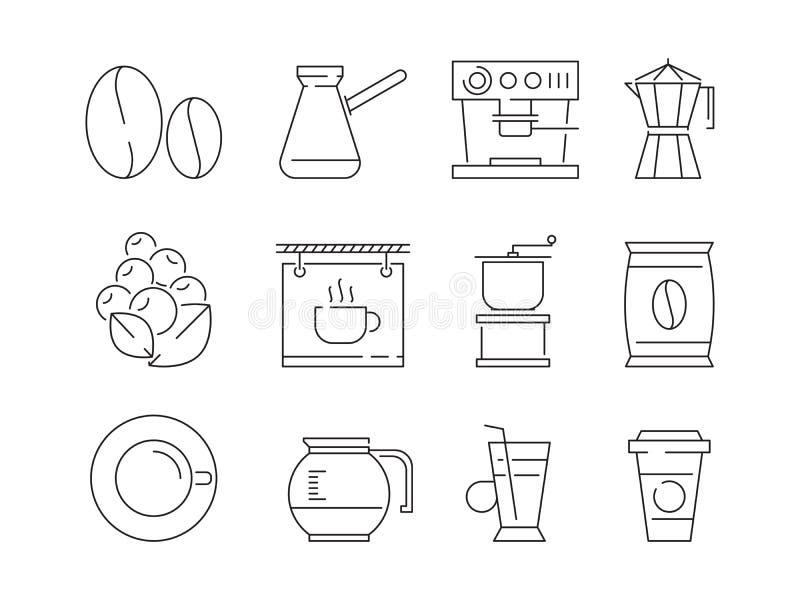 Kaffeezeitikone Tee und heiße Getränkbecher, die des Irishcoffee-Vektors der Nahrungsmittelmaschine lineare dünne Symbole redigie stock abbildung